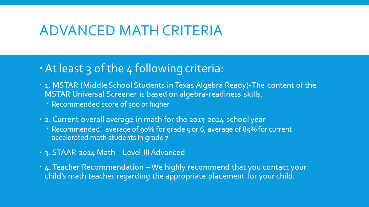 Advanced math criteria