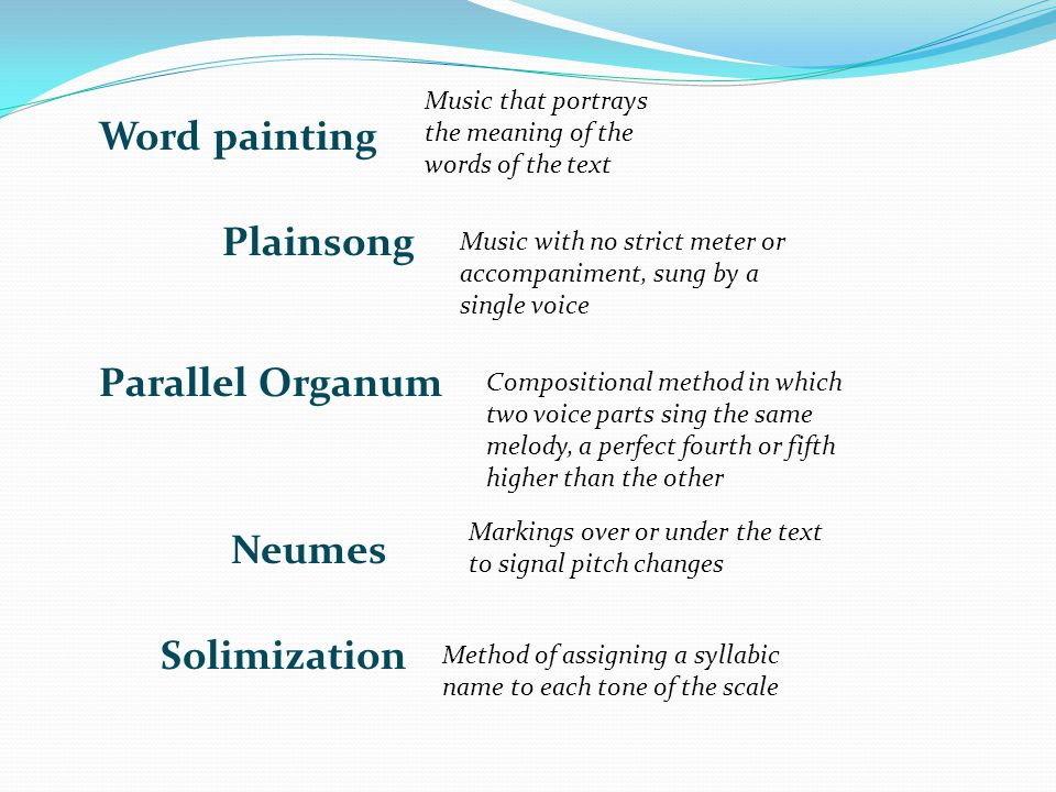 Word painting Plainsong Parallel Organum Neumes Solimization