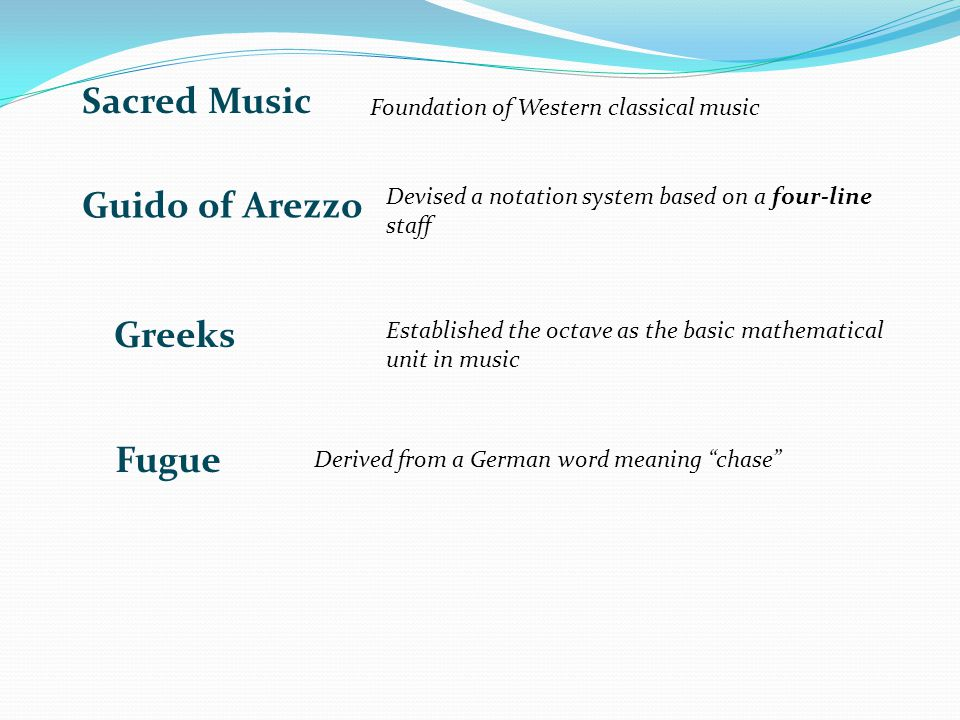 Sacred Music Guido of Arezzo Greeks Fugue