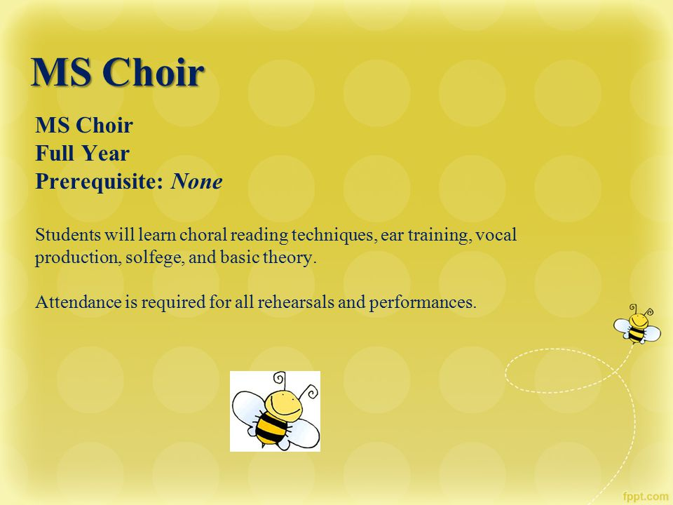 MS Choir MS Choir Full Year Prerequisite: None