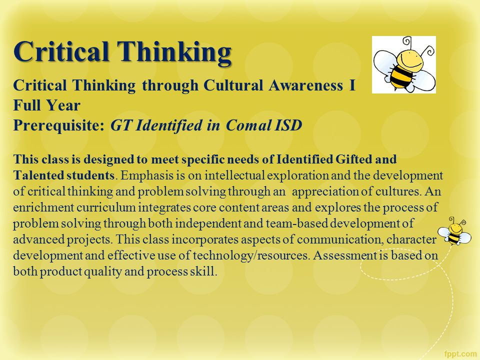 Critical Thinking Critical Thinking through Cultural Awareness I