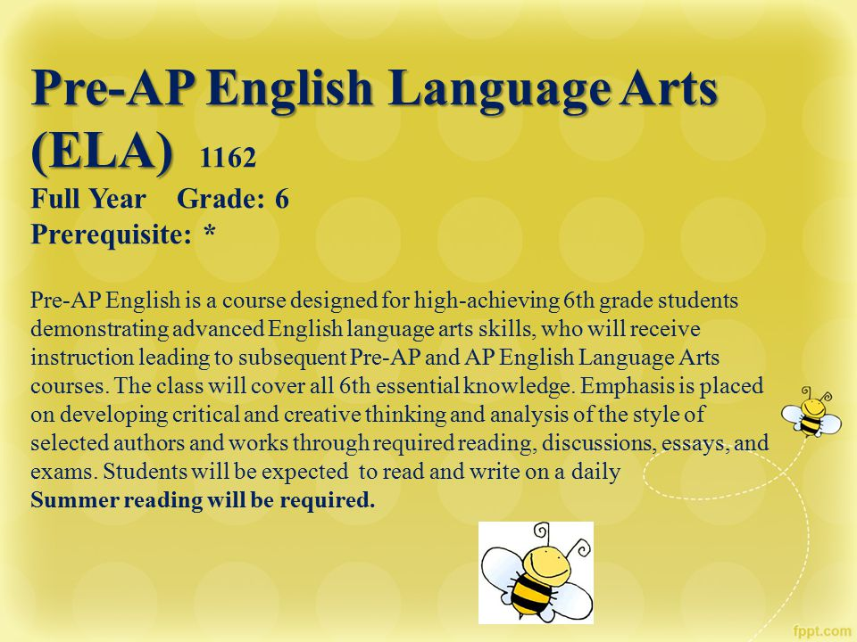 Pre-AP English Language Arts (ELA) 1162