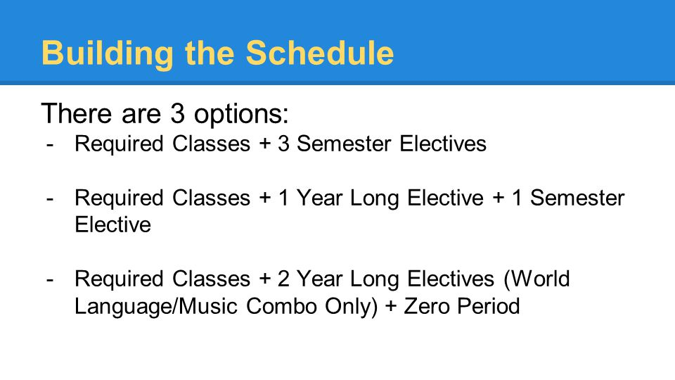 Building the Schedule There are 3 options: