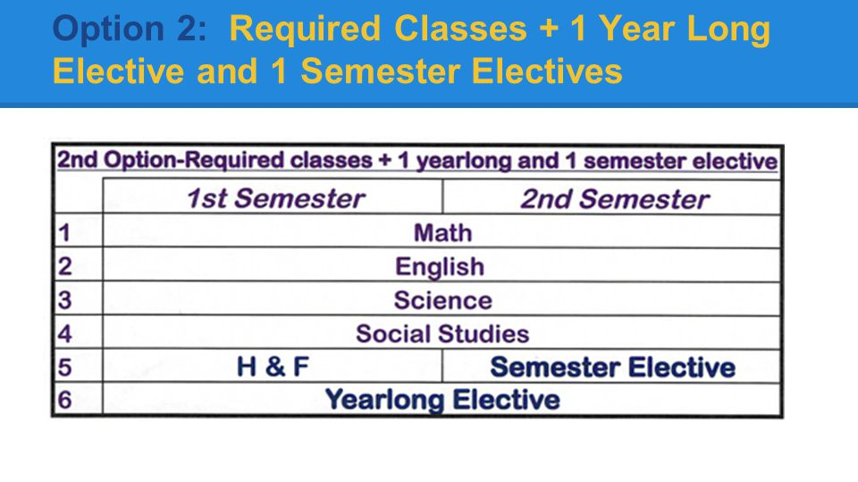 Option 2: Required Classes + 1 Year Long Elective and 1 Semester Electives