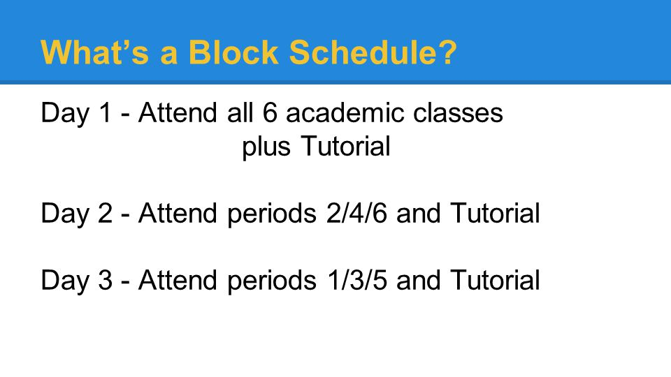 What's a Block Schedule
