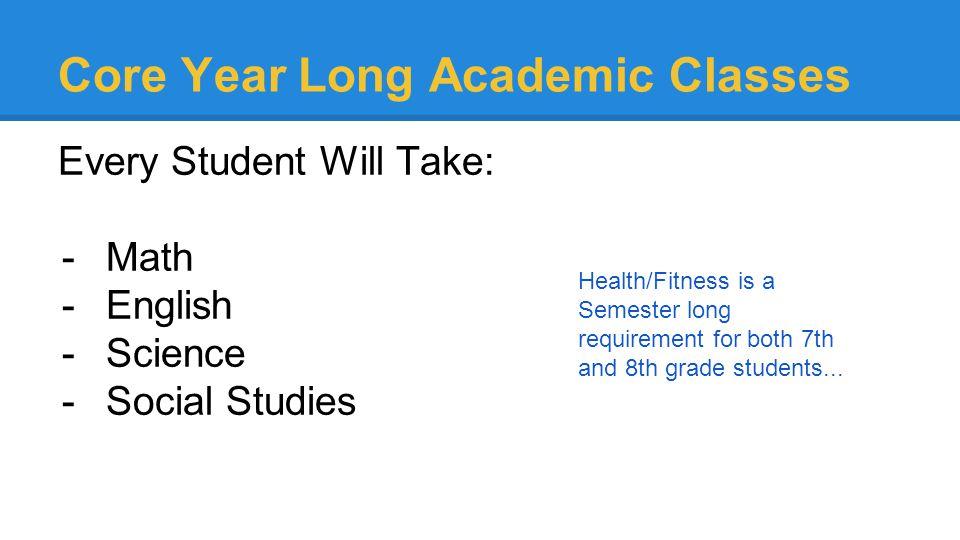 Core Year Long Academic Classes