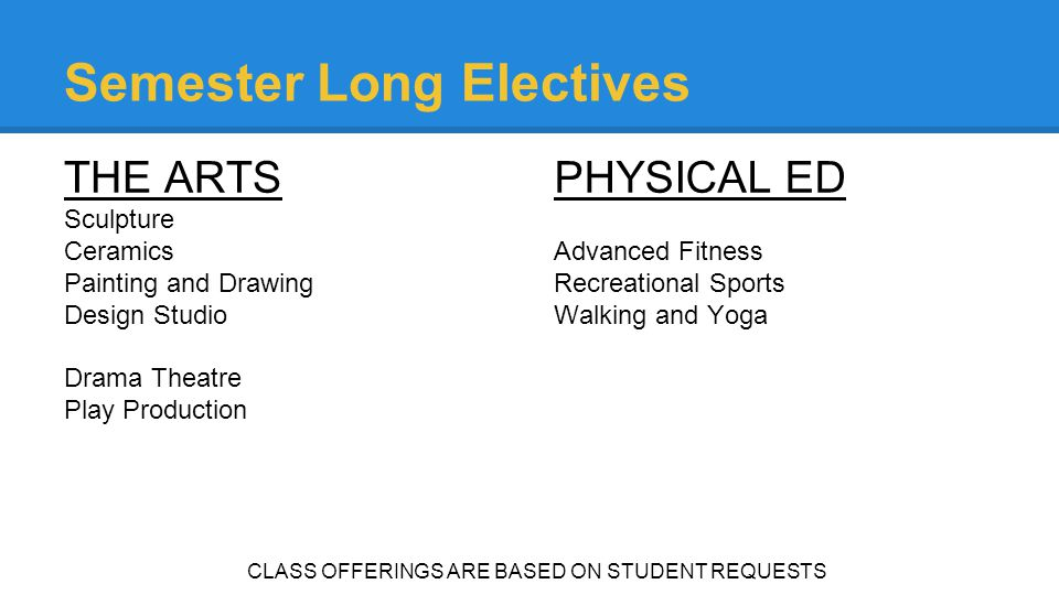 Semester Long Electives