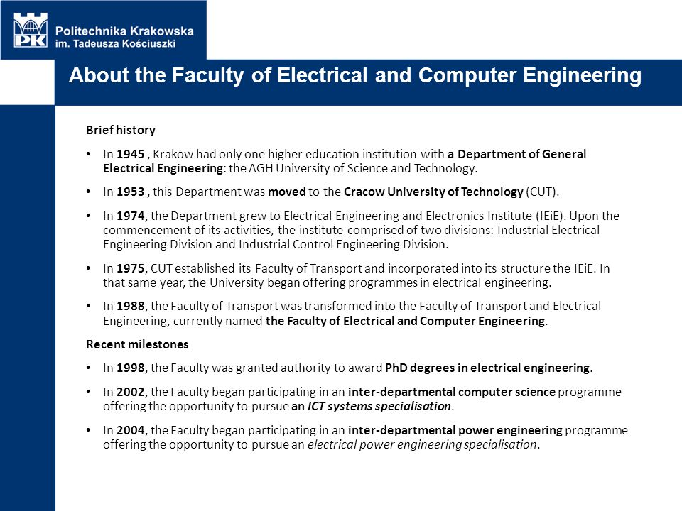 About the Faculty of Electrical and Computer Engineering