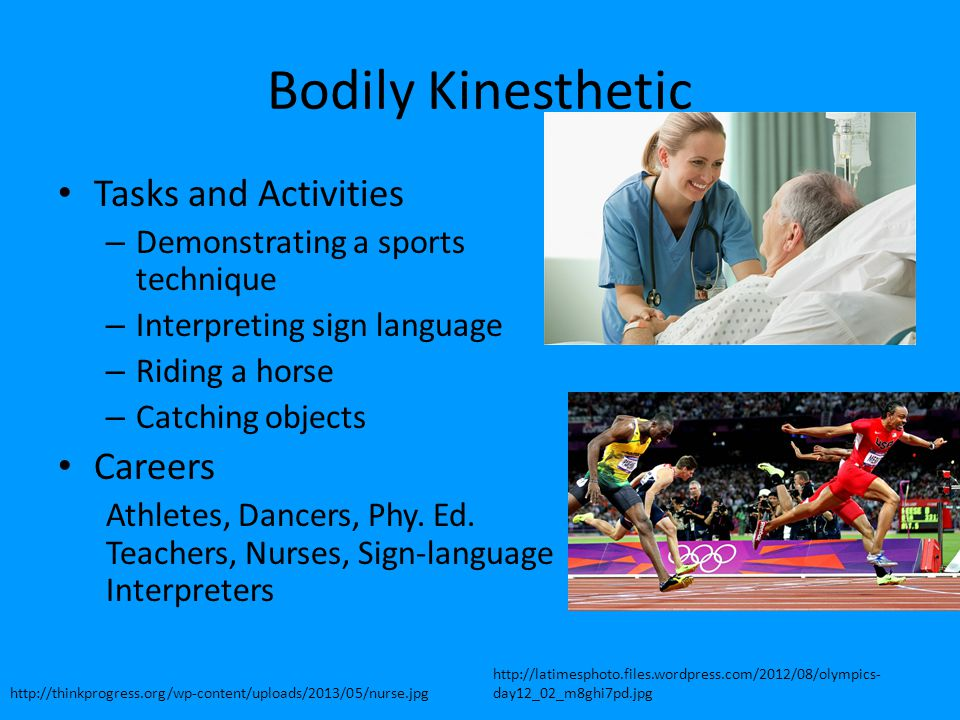 Bodily Kinesthetic Tasks and Activities Careers