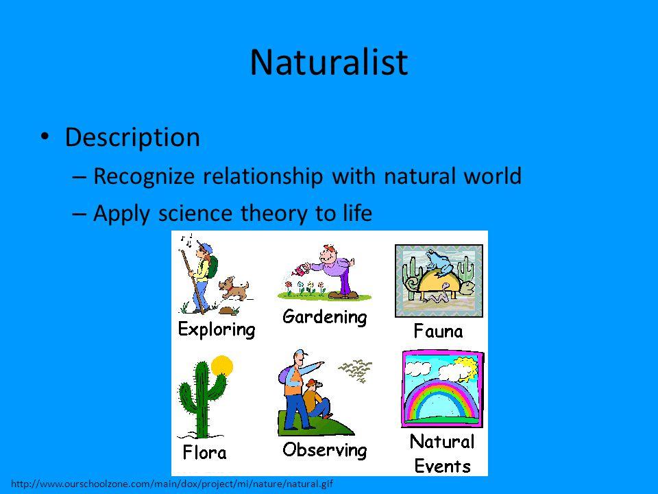 Naturalist Description Recognize relationship with natural world