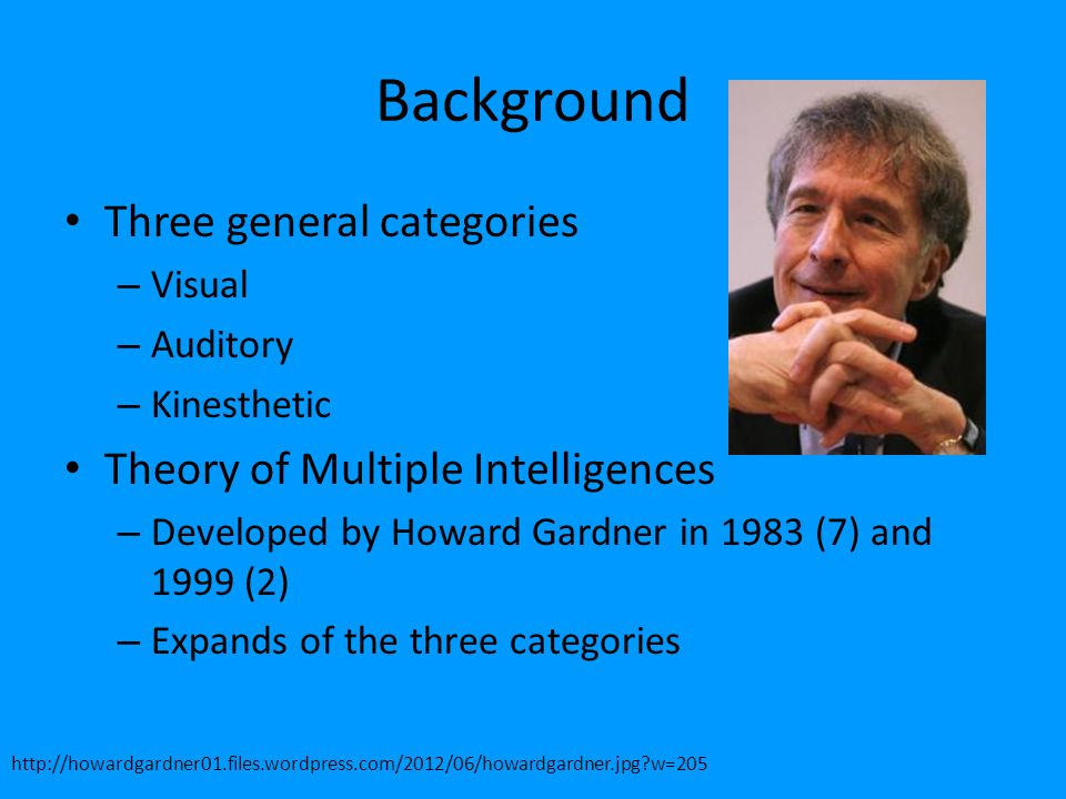 Background Three general categories Theory of Multiple Intelligences