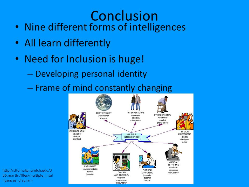 Conclusion Nine different forms of intelligences All learn differently