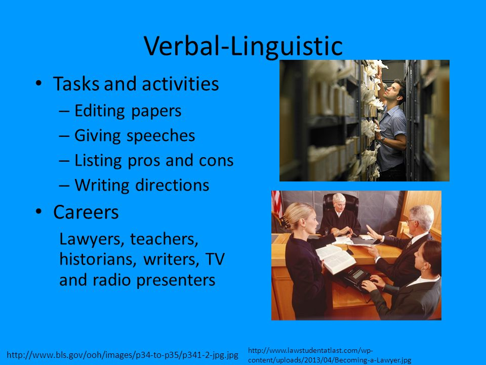 Verbal-Linguistic Tasks and activities Careers Editing papers