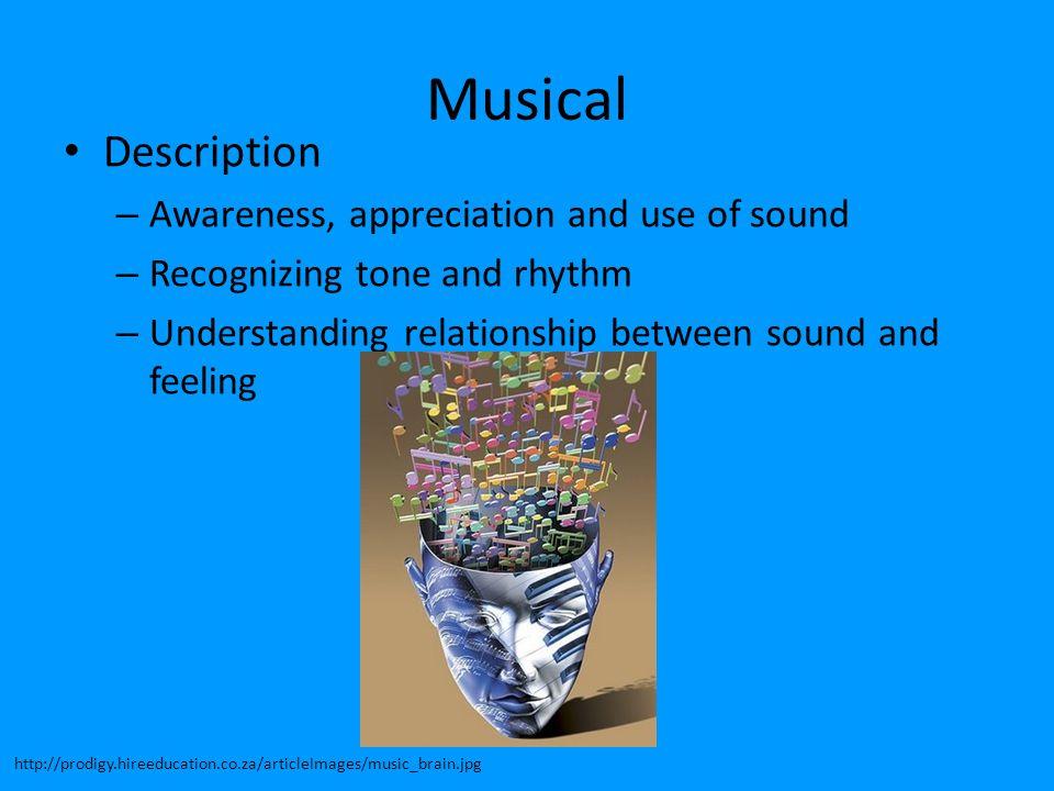 Musical Description Awareness, appreciation and use of sound