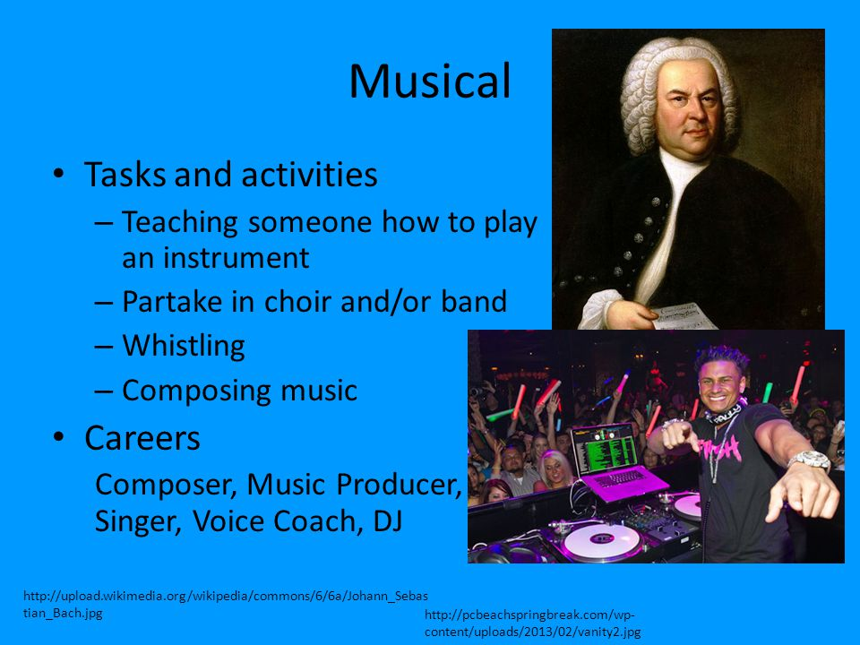 Musical Tasks and activities Careers
