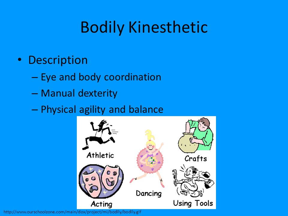 Bodily Kinesthetic Description Eye and body coordination