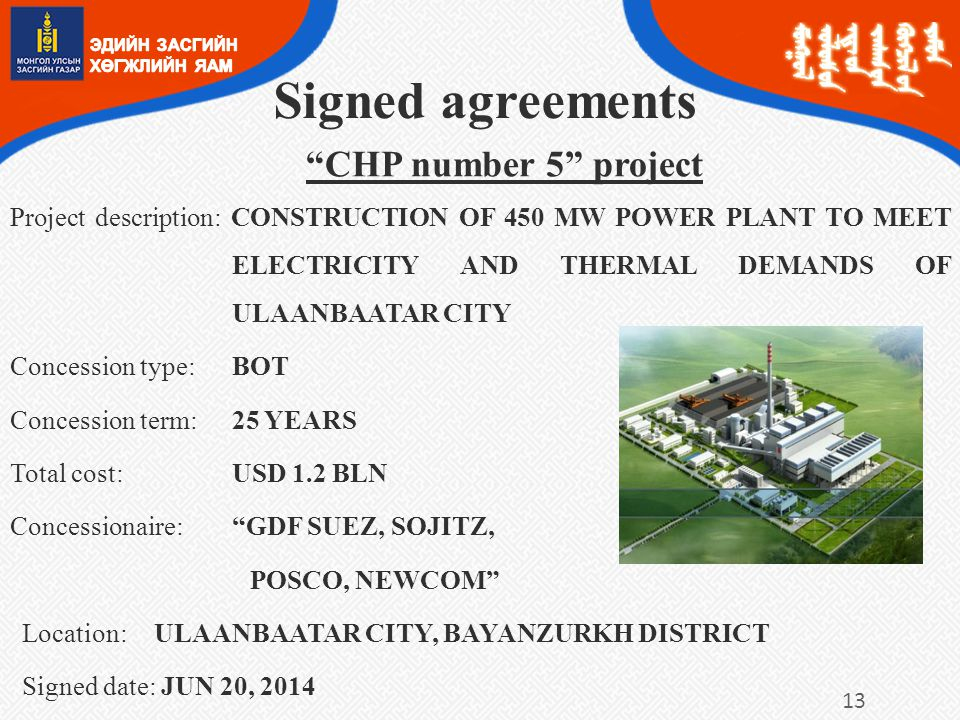 Signed agreements CHP number 5 project
