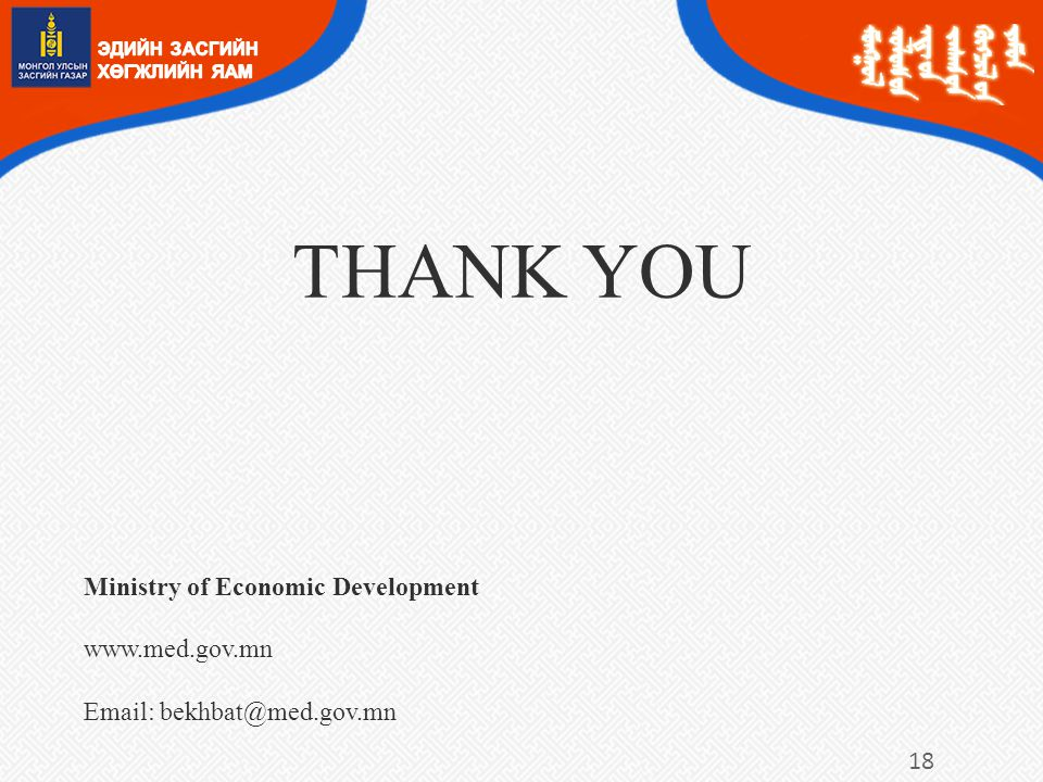 THANK YOU Ministry of Economic Development www.med.gov.mn