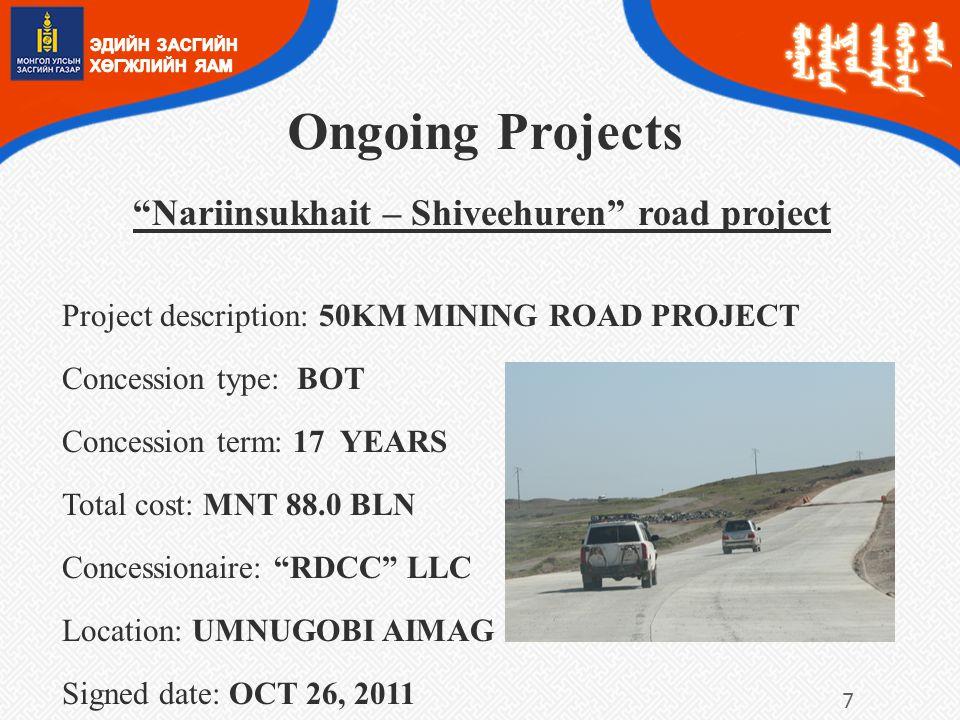 Nariinsukhait – Shiveehuren road project