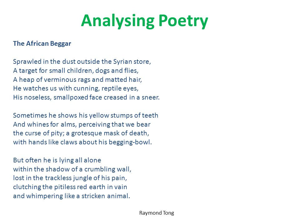 Analysing Poetry The African Beggar