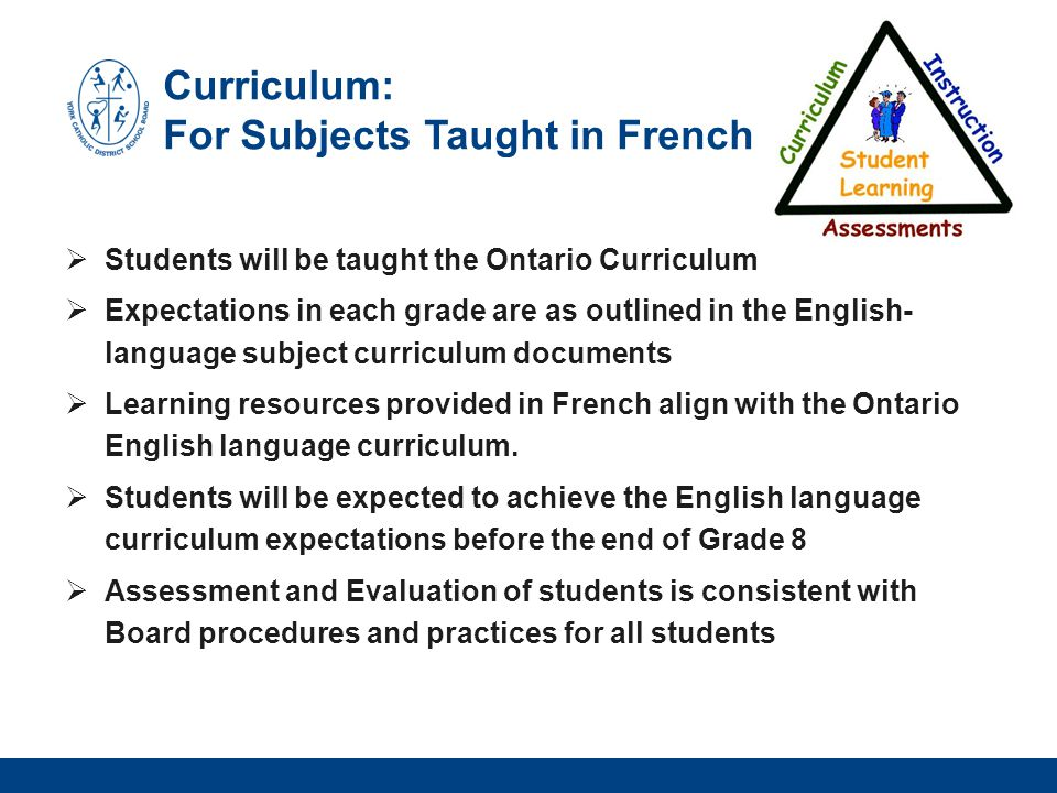 Curriculum: For Subjects Taught in French