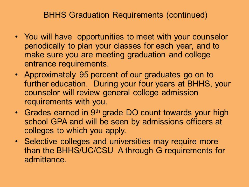 BHHS Graduation Requirements (continued)