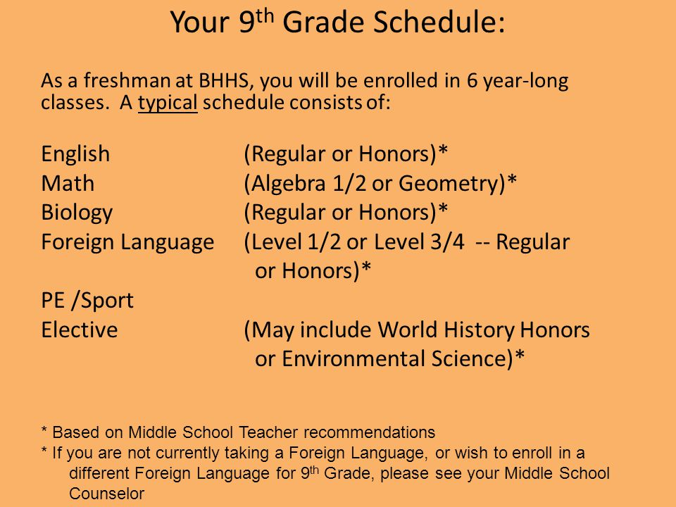 Your 9th Grade Schedule: