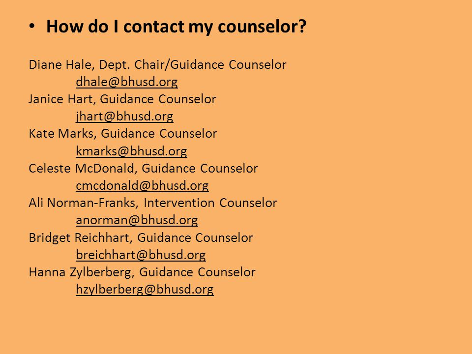 How do I contact my counselor