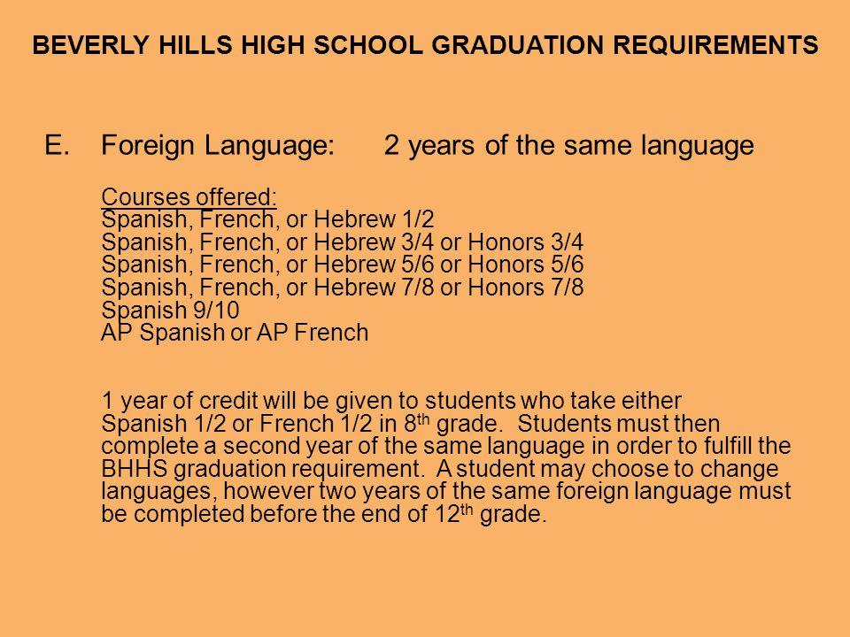 BEVERLY HILLS HIGH SCHOOL GRADUATION REQUIREMENTS