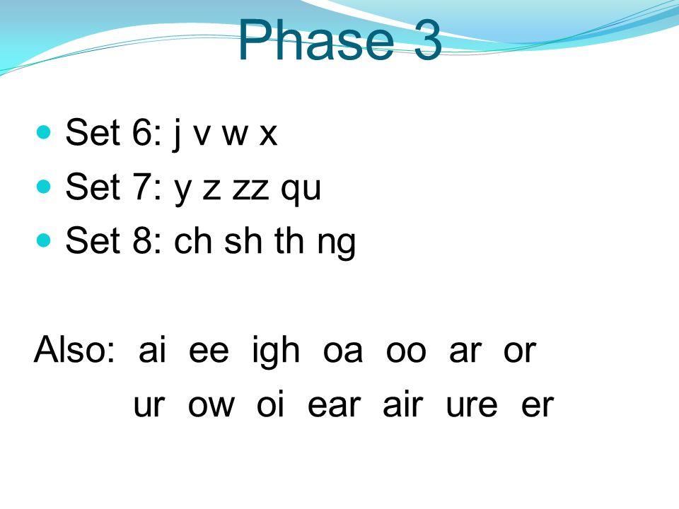 Phase 3 Set 6: j v w x Set 7: y z zz qu Set 8: ch sh th ng