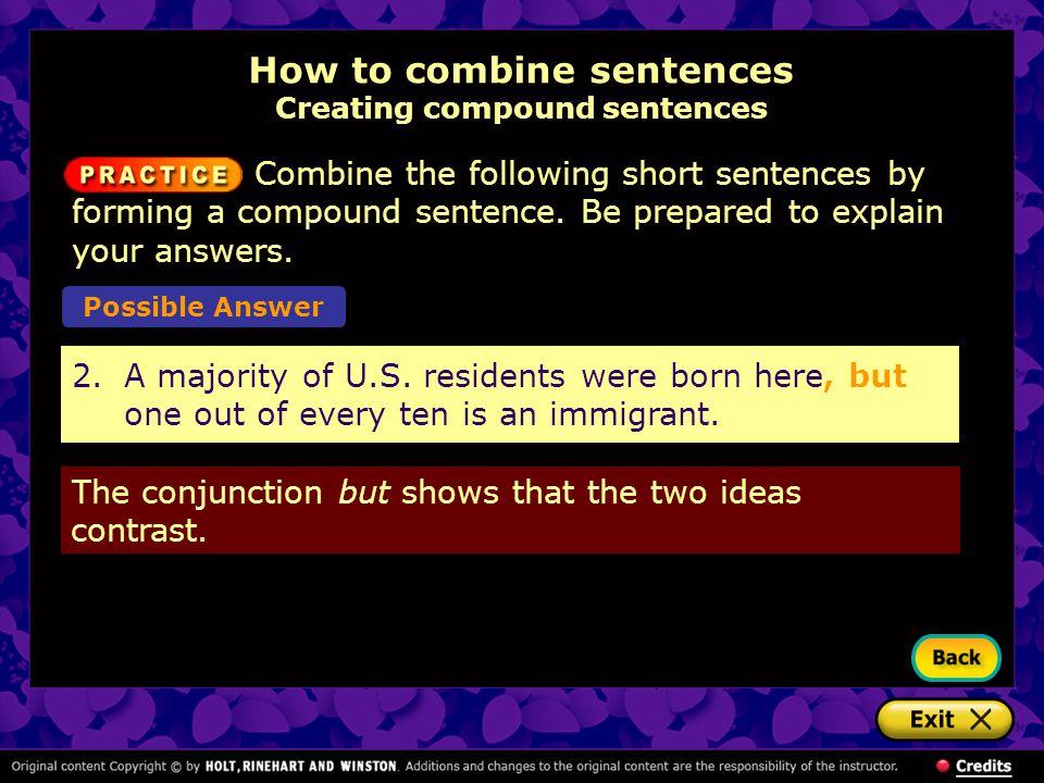 How to combine sentences Creating compound sentences