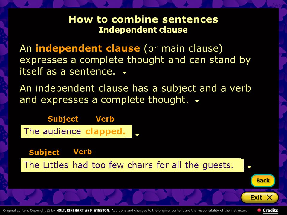 How to combine sentences Independent clause