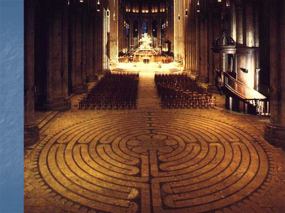 Note one of the Cathedral's unique features: a large labyrinth or maze fit into the floor of the nave.