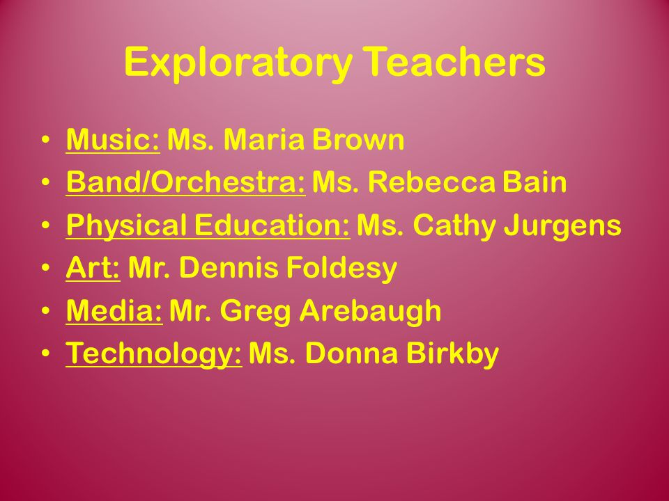 Exploratory Teachers Music: Ms. Maria Brown