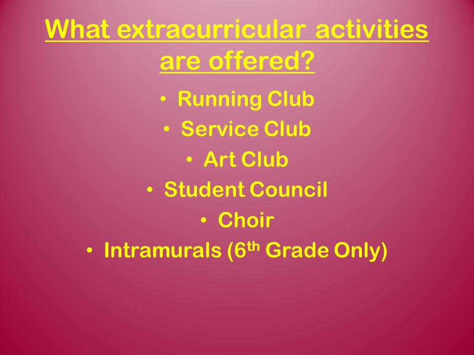 What extracurricular activities are offered