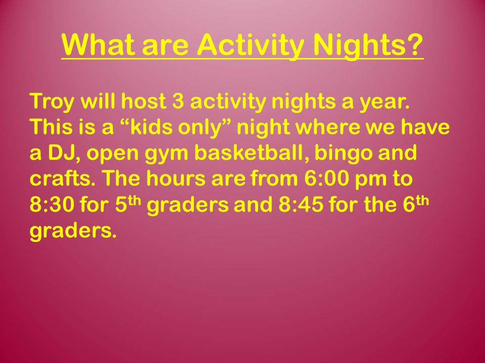 What are Activity Nights