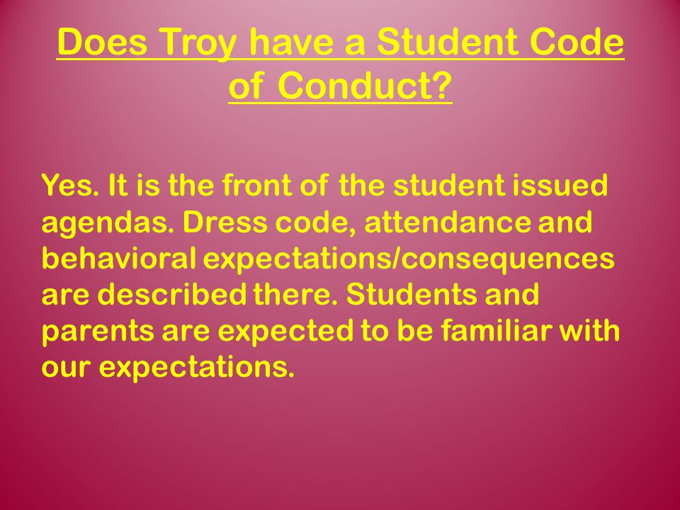 Does Troy have a Student Code of Conduct