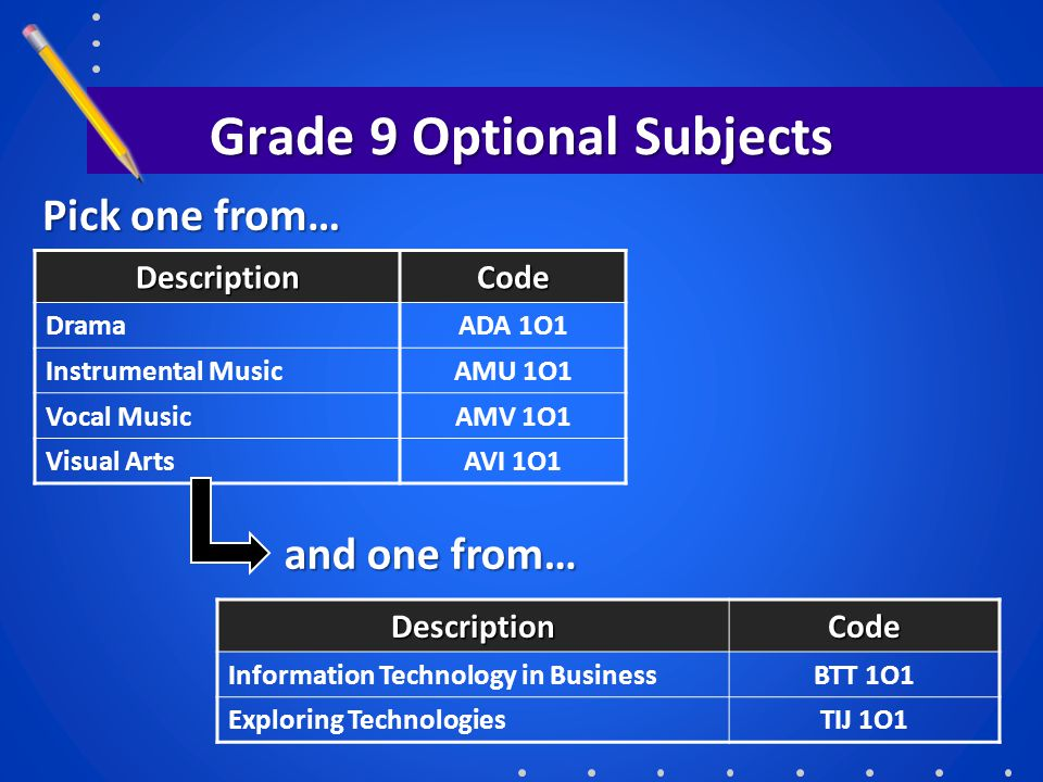 Grade 9 Optional Subjects