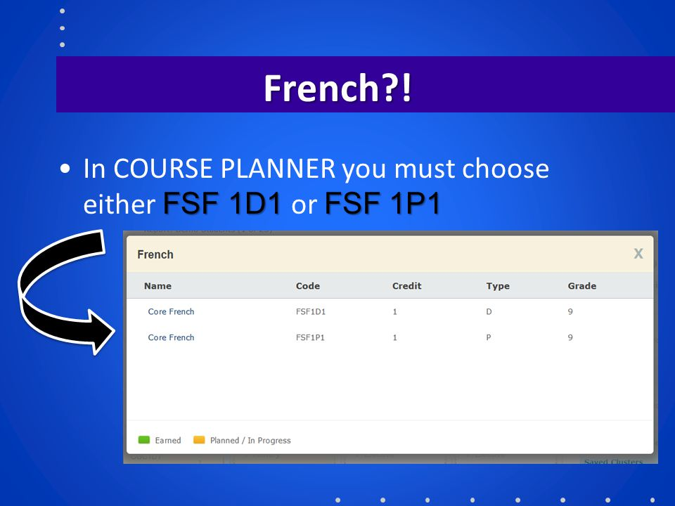 French ! In COURSE PLANNER you must choose either FSF 1D1 or FSF 1P1