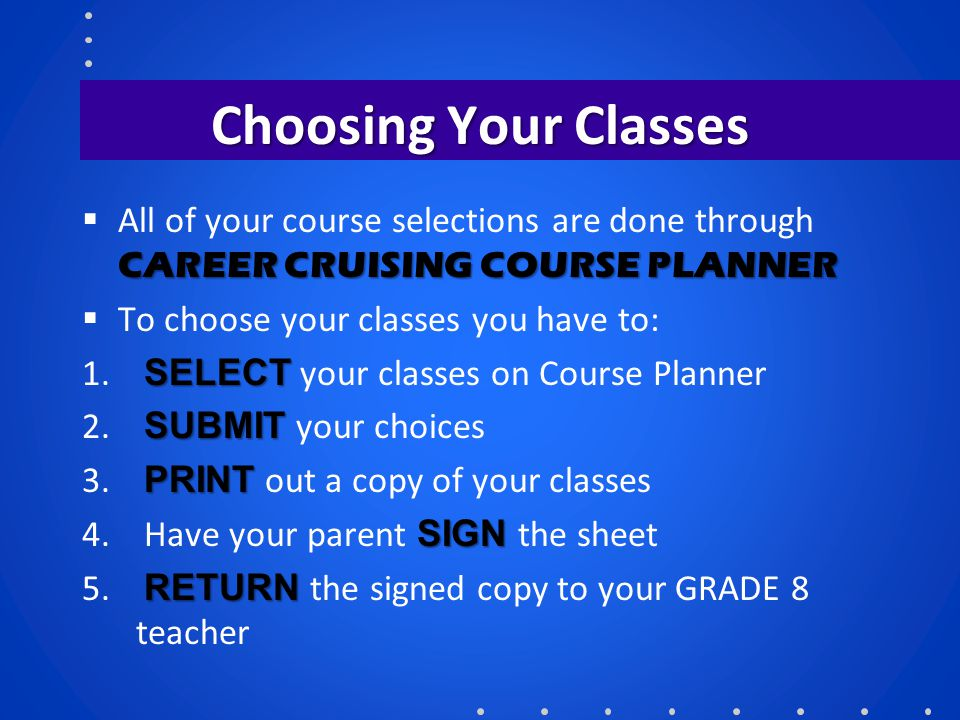 Choosing Your Classes All of your course selections are done through CAREER CRUISING COURSE PLANNER.