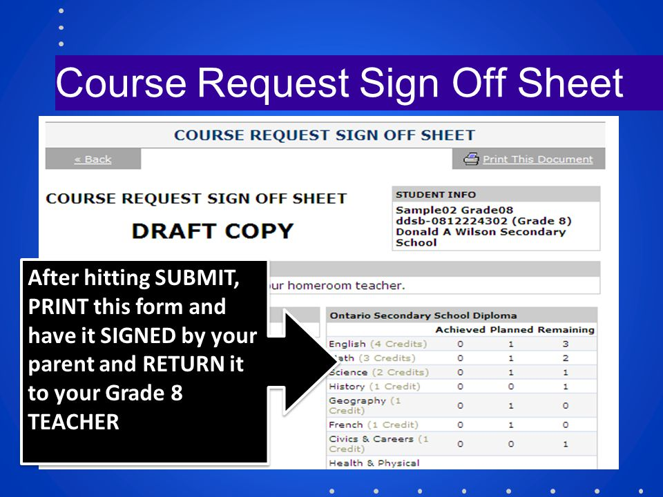 Course Request Sign Off Sheet