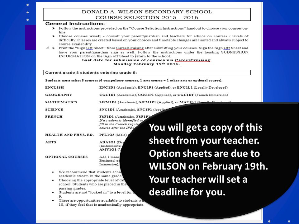 You will get a copy of this sheet from your teacher