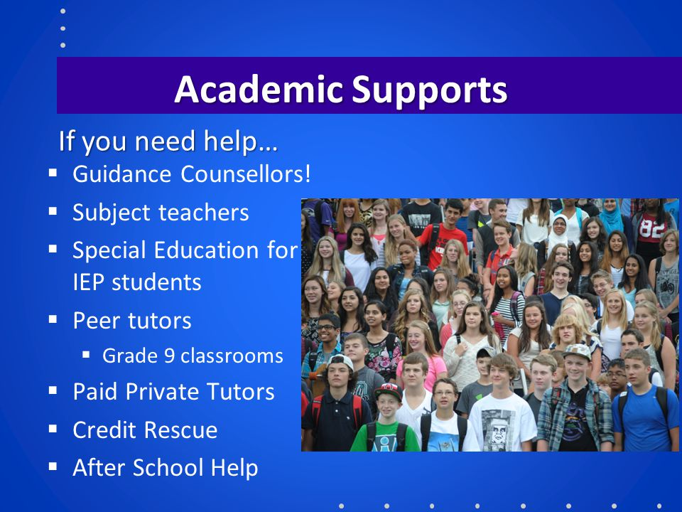 Academic Supports If you need help… Guidance Counsellors!