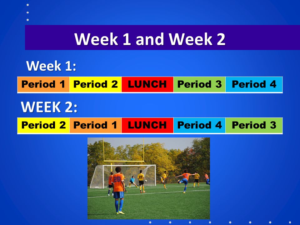 Week 1 and Week 2 WEEK 2: Week 1: Period 1 Period 2 LUNCH Period 3