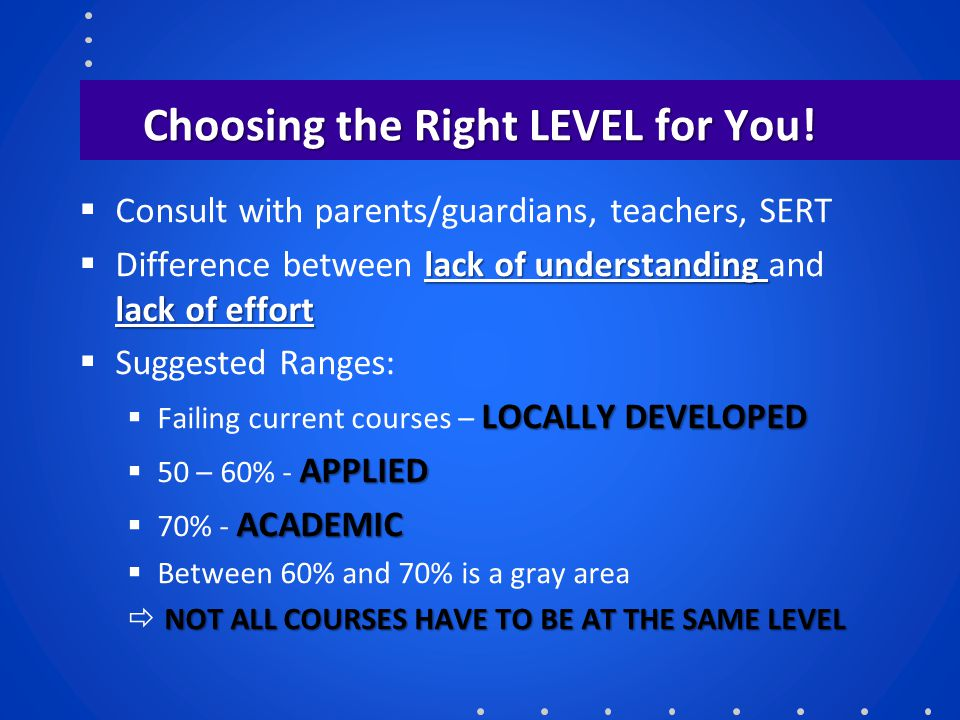 Choosing the Right LEVEL for You!