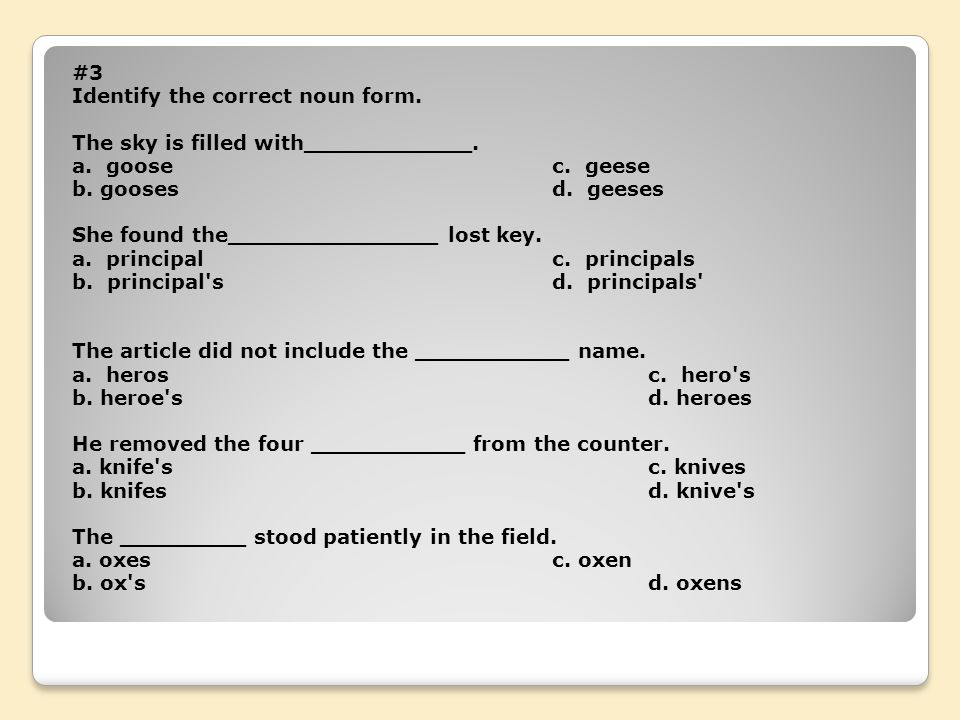 #3 Identify the correct noun form. The sky is filled with____________