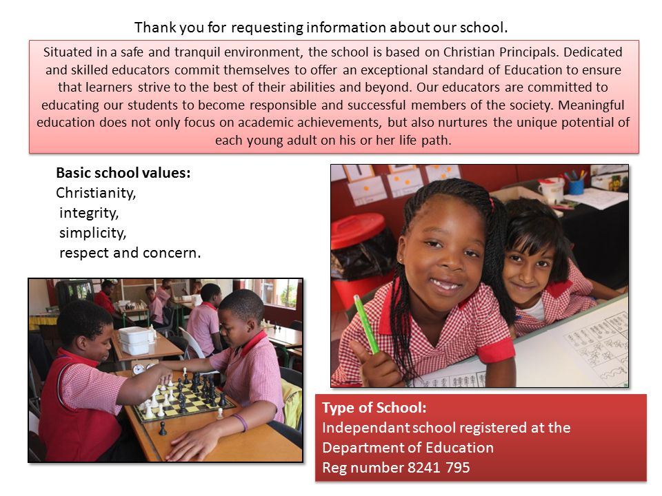 Thank you for requesting information about our school.