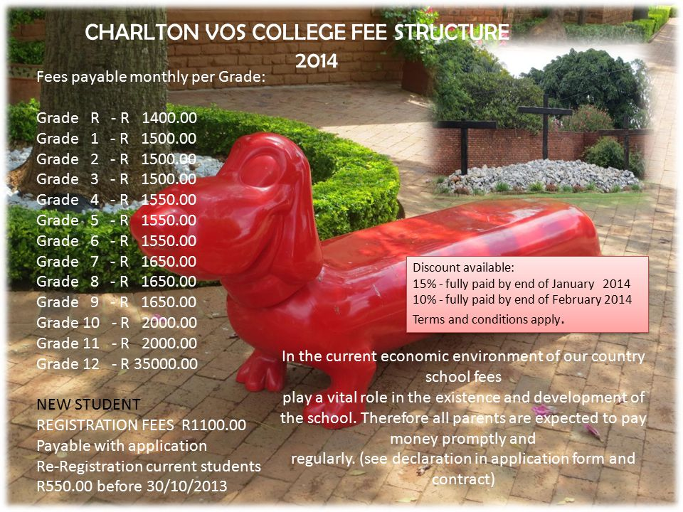 CHARLTON VOS COLLEGE FEE STRUCTURE 2014