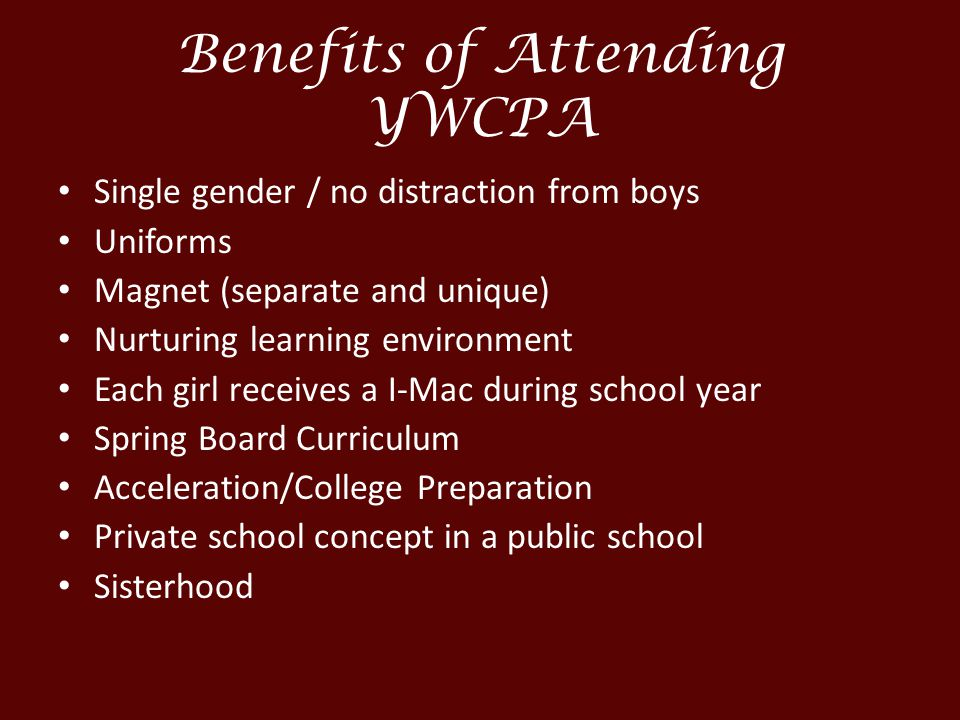 Benefits of Attending YWCPA