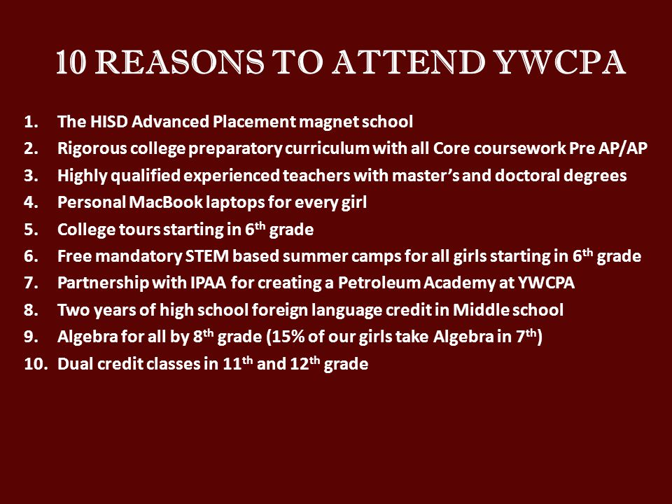 10 REASONS TO ATTEND YWCPA